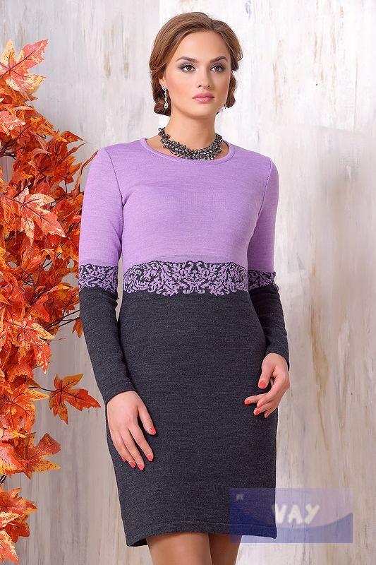 Платье жен. 2083, цвет 29-493/389 уголек/св.фиалка