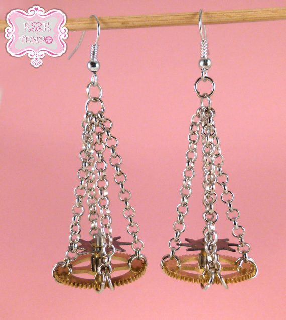 Chandelier earrings with dual watch toothed wheels by EsseeTempo