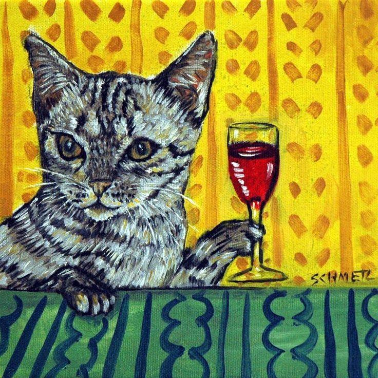 OCICAT cat at the WINE Bar art Tile Coaster ANIMAL GIFT