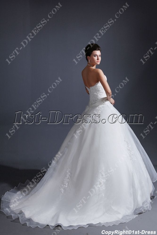 Sweet Strapless Cinderella Ball Gown Wedding Dress 20141st