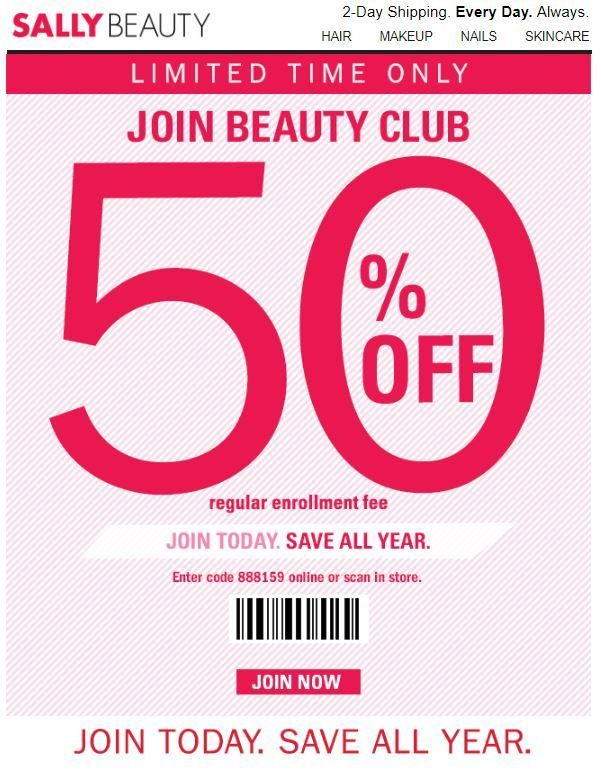 graphic regarding Printable Cosmetic Coupons identify Sally Attractiveness Shipping and delivery Coupon: 50% Off Splendor Club Monthly