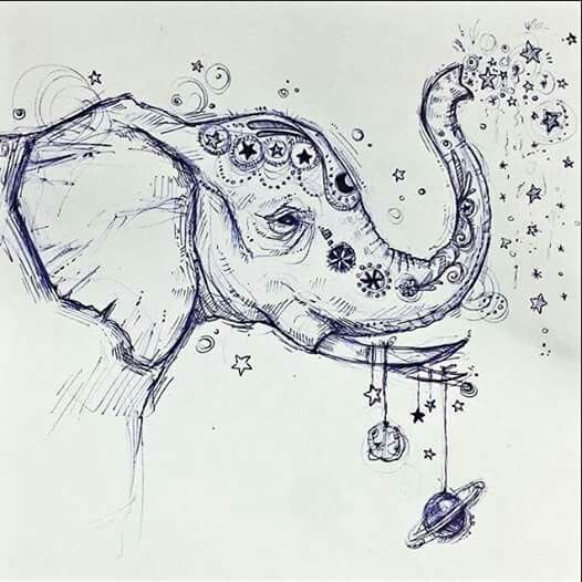 """If you do not have a memory like an elephant, leave impressions like one."" art: Kylie Jenkins"