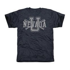 Nevada Wolf Pack Crossed Sticks Tri-Blend T-Shirt - Navy Blue