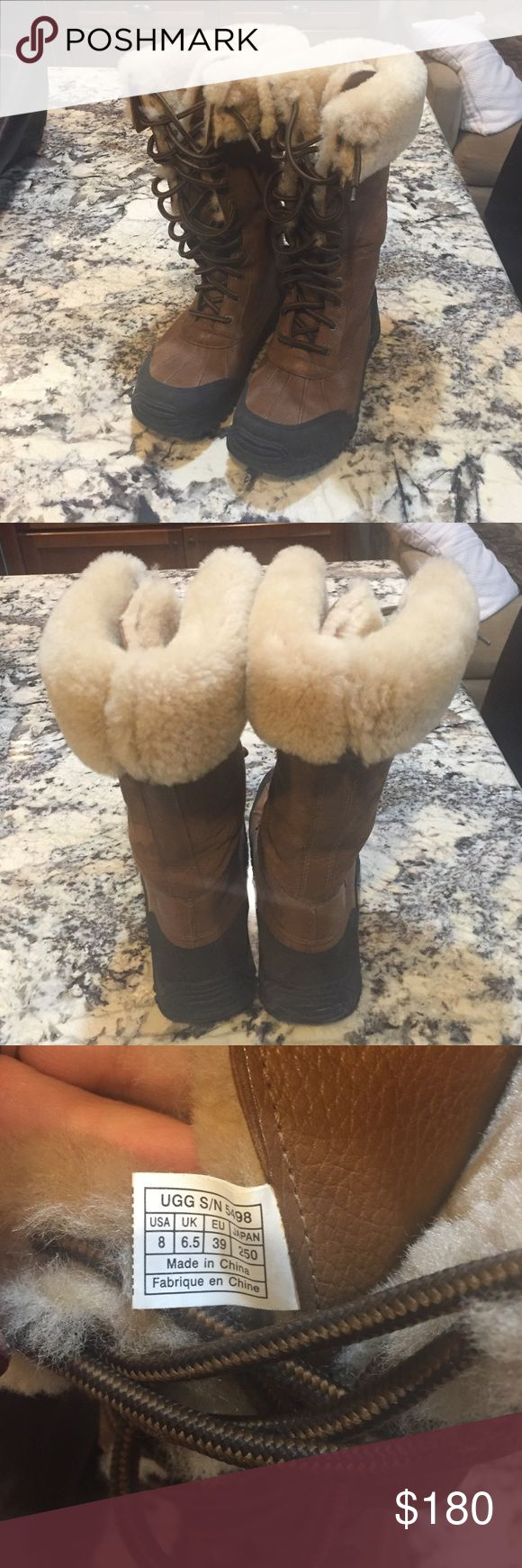 Ugg Adirondack tall boots Ugg Adirondack boots. $300 brand new. They are in perfect shape and only sign of wear is on the tip of one shoelace. Only worn a couple times and don't live in a place with snow. UGG Shoes Winter & Rain Boots