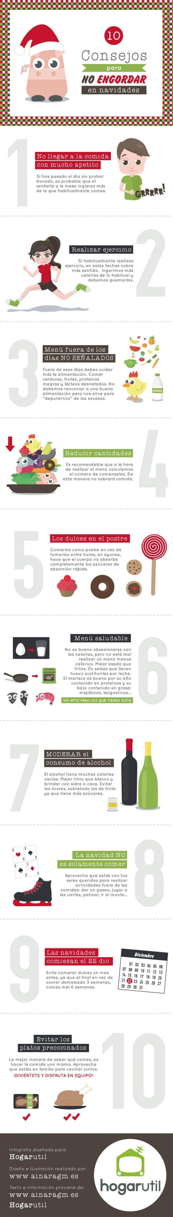 infografía consejos para no engordar en navidad