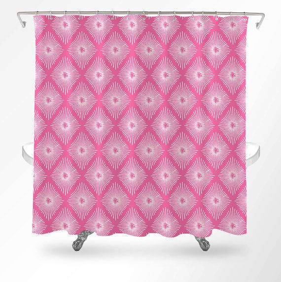 Pink Shower Curtain Art Bathroom By Loftipop