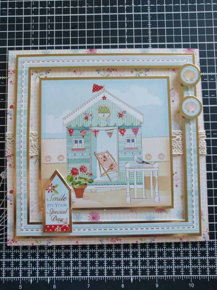 Hunkydory Crafts Sun Sea and Sandcastles Collection. Beach hut card with lace ribbon.