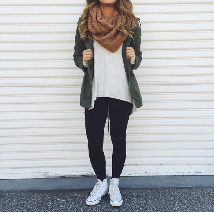 Army jacket paired with a brown infinity scarf