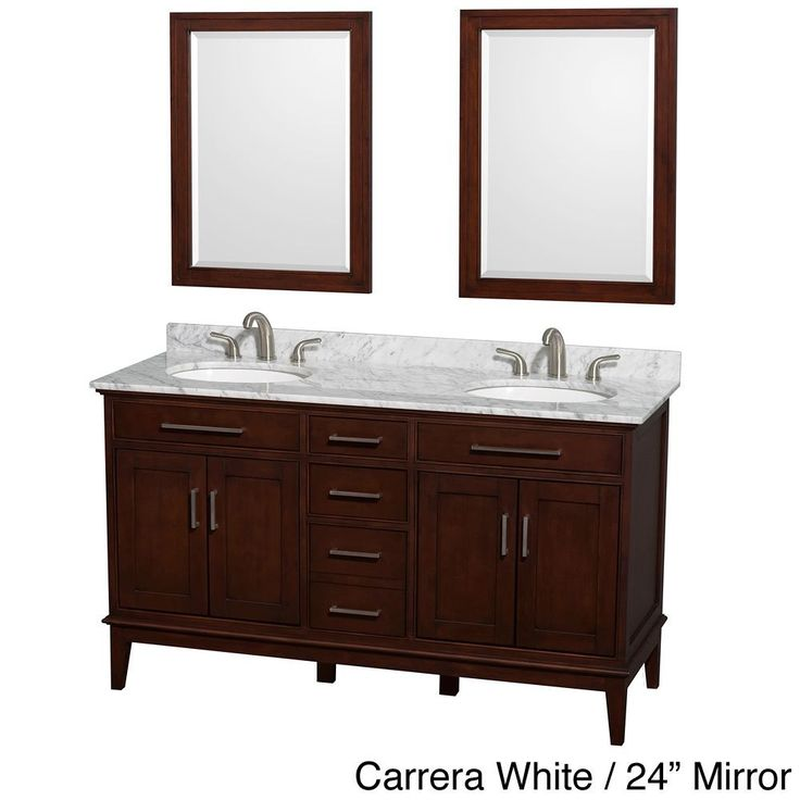 Make Photo Gallery Double Vanity in Dark Chestnut with Marble Vanity Top in White Carrara Round Sinks and Medicine Cabinets