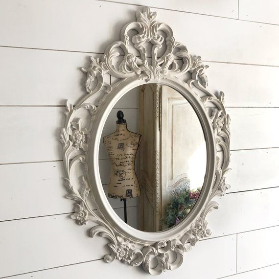 White Bathroom Wall Decor Farmhouse Wall Mirror Shabby