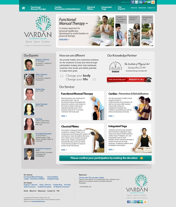 Holistic and Customised solution by vardan.in for the treatment of body and mind through particular healings like manual therapy, Integrated Yoga, Classical Pilates, Cardiac Prevention which help individuals to maximize their innate and potential.