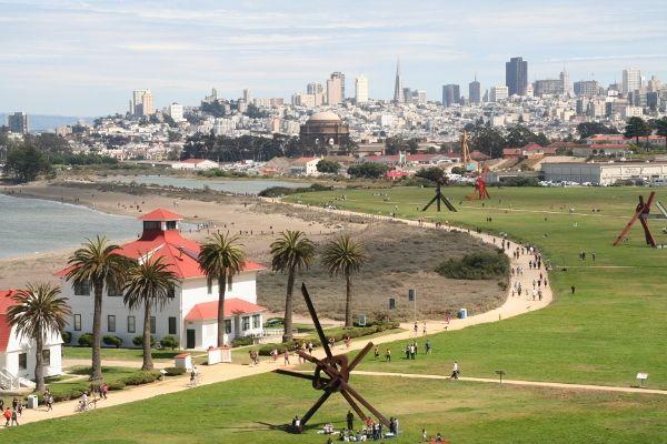 Crissy Field, Mark di Suvero sculptures and San Francisco skyline in background. Love it! San Francisco, CA