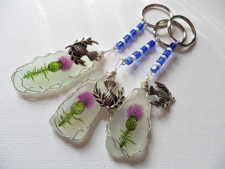 Scottish thistle hand painted sea glass bag charm- Scotland crafted gift keyring #handmade