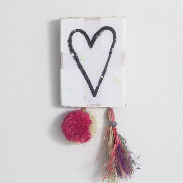 • Mixed medium decorative tile with pom pom embellishment • Approximately 12x15cm • Not suitable for outdoor use • All pieces are unique and will vary slightly with paint splashes • Designed by Jai Vasicek and handmade in Byron Bay, Australia
