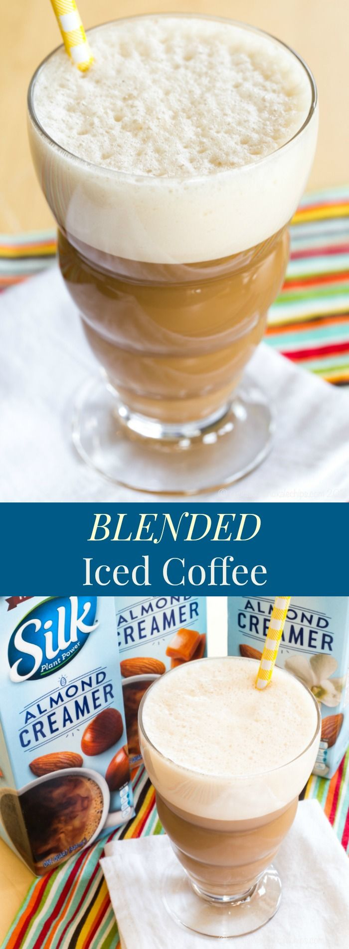 Blended Iced Coffee - a simple hack brings the coffee shop to your kitchen. Customize it with your favorite @lovemysilk Dairy Free Creamers. #ad