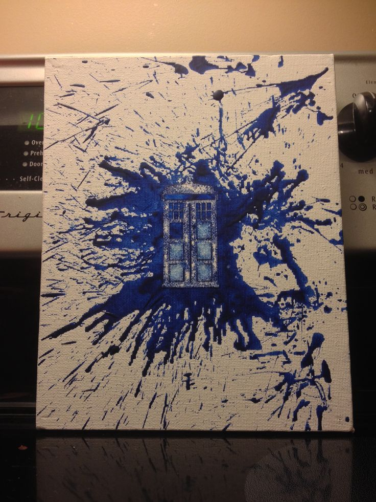 Made this Tardis Doctor Who crayon art on a canvas! Just get a vinyl decal, stick it on your canvas, hold the crayon above the canvas and melt with a hair dryer to create the splatter. You can also rub the melted crayon on the canvas to create the thicker blobs of color. You want to make sure that you've covered the decal completely with your melted crayon. Wait for it to dry, then peel off the decal!