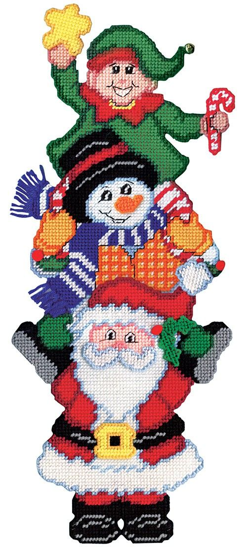 Santa, a snowman and an elf are in this Christmas pile up plastic canvas kit.