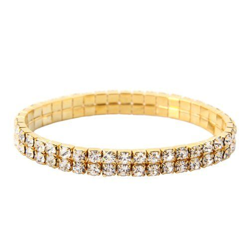 "Double Tier Swarovski Element Stretch Crystal Bracelet in Gold Overlay Swarovski. $12.00. Swarovski Elements Clear Crystal. Measures 6"" at rest 11"" fully stretched, stretches to fit most.. Gold overlay. Save 91% Off!"