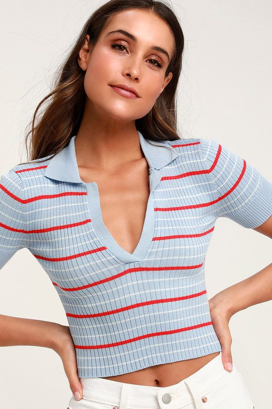 d90855340 Grab your golf clubs and your Lulus Country Club Light Blue Striped Cropped  Polo and have some fun in the sun! Lightweight, ribbed knit featuring red  and ...