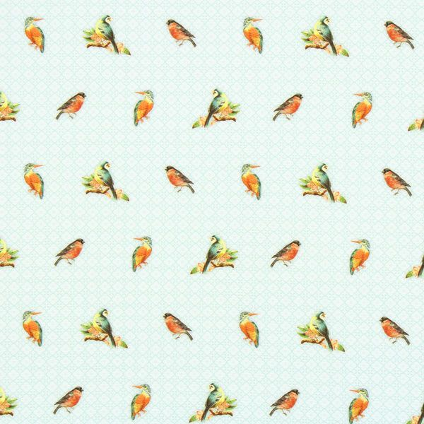 Cretonne vogels ornament - Cretonne- stoffen.net