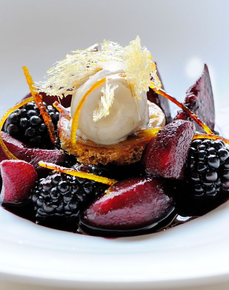 Bring the mulled wine into your desserts! A pungent blend of spices add a distinct warmth to this mulled winter fruits dish from Gary Jones. The cold ice cream is blissful next to the crunchy spiced bread and warm winter fruits including figs, pears and plums.
