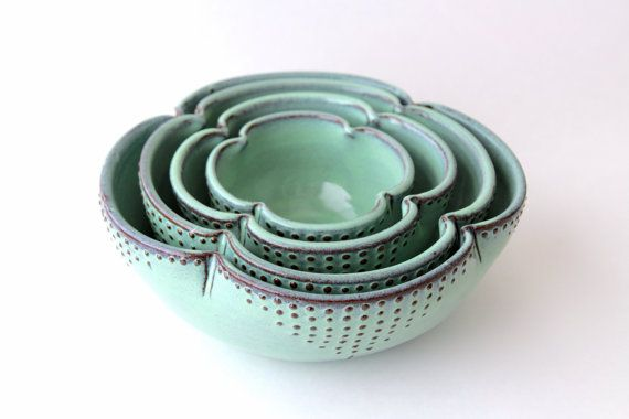 Ceramic Nesting Bowls Set of 4 Serving Dishes by BackBayPottery