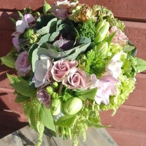 Kale & Dutch rose spring bridal bouquet