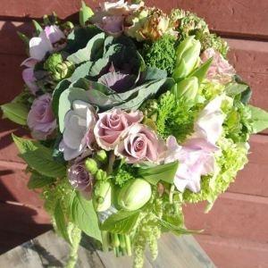 Kale & Dutch rose spring bridal bouquet