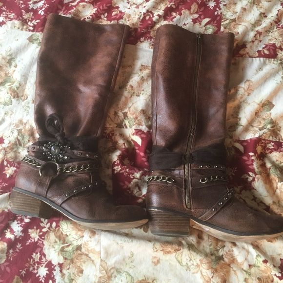 Not Rated boots with tulle and gems from BUCKLE Brown Not Rated brand riding boots from Buckle with tulle and gems around the ankle. Worn but otherwise in great condition Not Rated Shoes