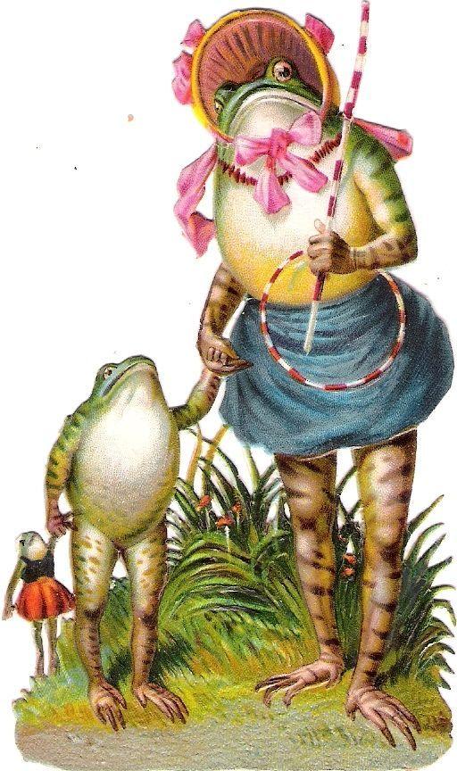 Oblaten Glanzbild scrap die cut chromo Frosch frog 11cm  Baby Puppe doll poupee