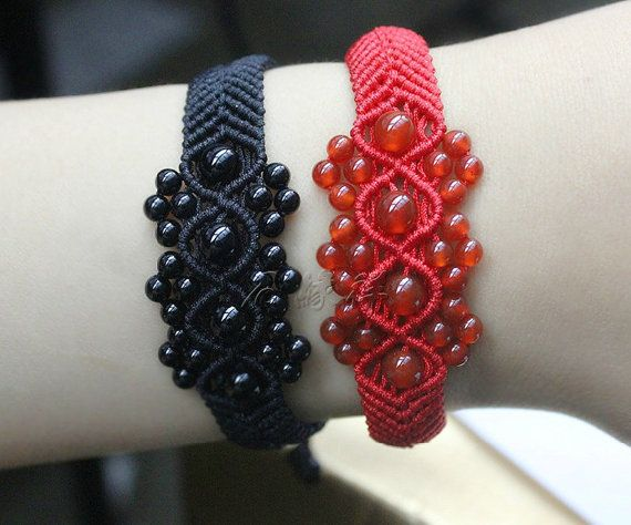 Natural AAA Red and black agate beads jewelry by jade