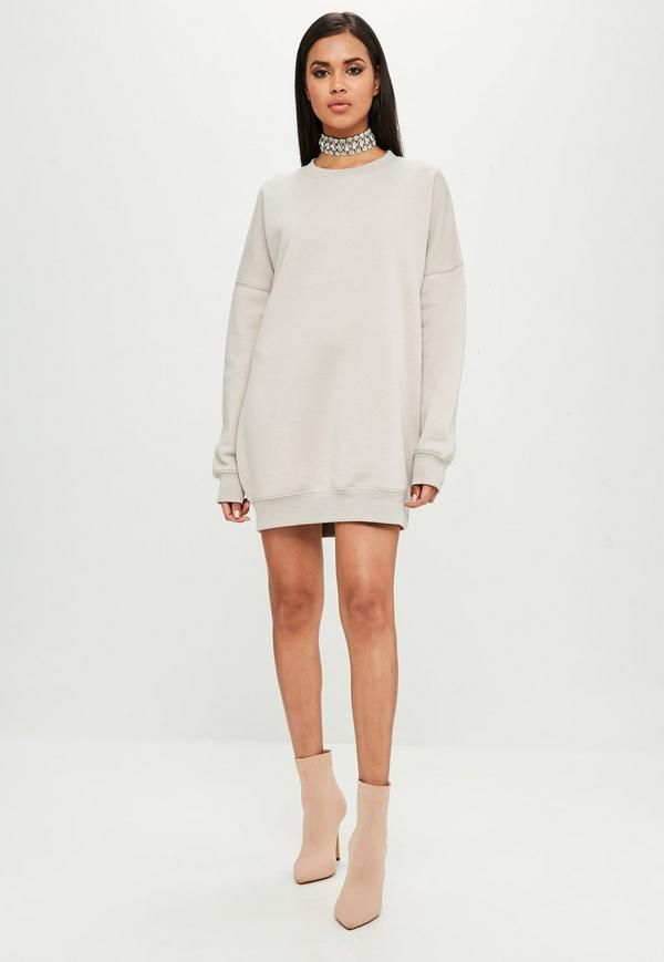 This nude Jumper dress features fleece lining, an oversized fit and round neckline.
