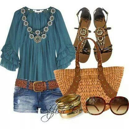 Love the top. The shorts and belt would need to be traded for boot cut jeans, but otherwise, I like this look.