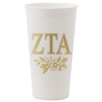 Zeta Tau Alpha ZTA Sorority White and Gold Tumbler - Brothers and Sisters' Greek Store