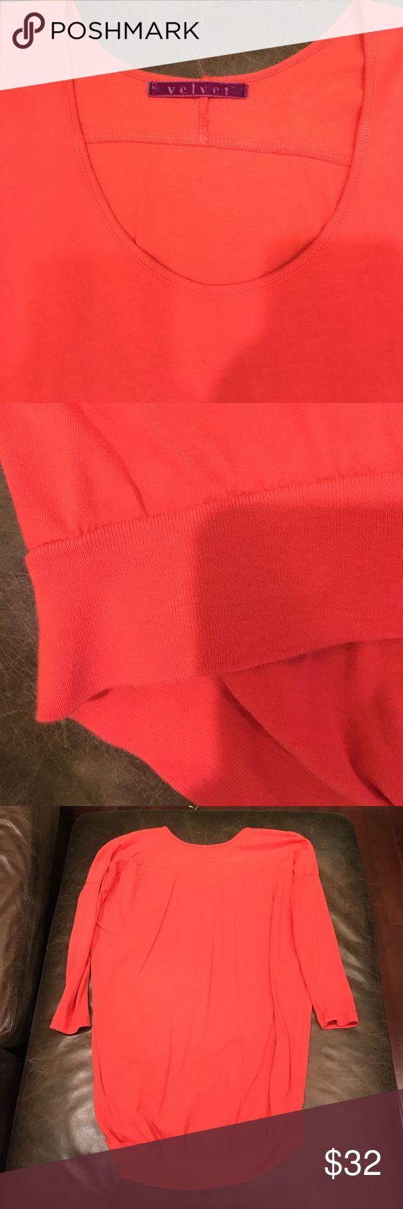 Velvet by graham & spencer 3/4 sleeve shirt Great condition. Banded bottom. Longer in the back. Bright salmon color. Size tag says petite but fits like XS/S. Loose slouchy fit. Velvet Tops