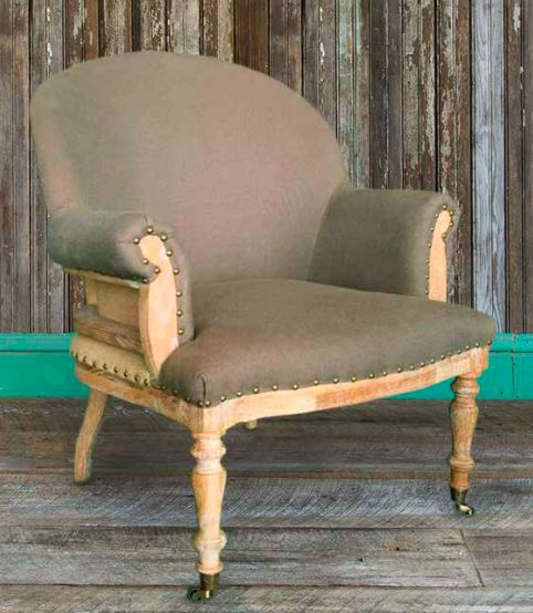 """Give your room an instant update with this deconstructed linen upholstered chair. Features an oak frame and nail head details. 32"""" x 31"""" x 38 ½"""" AllFurniturei"""