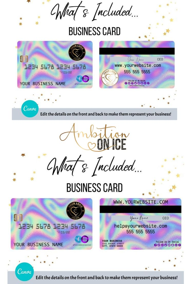 Diy Holographic Credit Card Business Cards Canva Template Etsy Business Card Design Appointment Cards Card Design