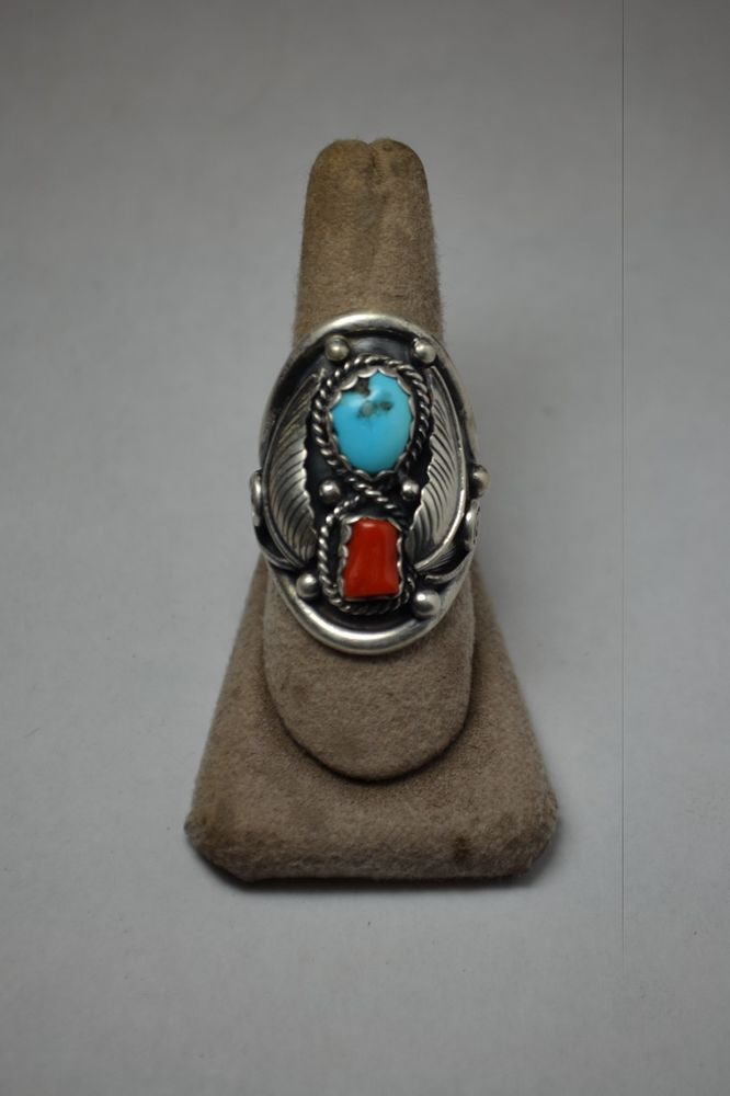 Sterling Silver Turquoise and Red Coral Ring in Jewelry & Watches, Ethnic, Regional & Tribal, Native American | eBay
