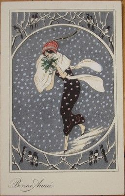1920s Xavier Sager Signed French New Year Postcard Art Deco Woman in The Snow | eBay