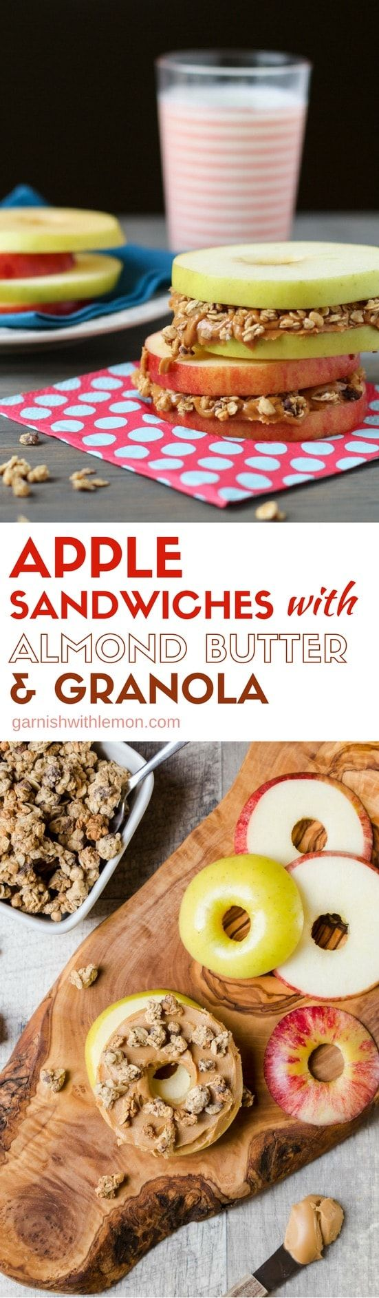Snacking made simple! These protein-packed Apple Sandwiches with Almond Butter & Granola are a quick and easy way to keep the munchies at bay!