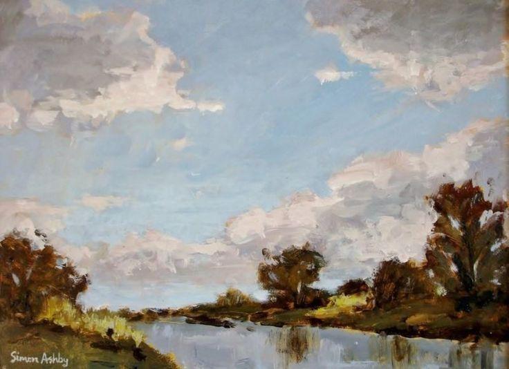 """Dusk, the River 16 x 12"""" Acrylic -"""