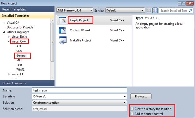 MASM is maintained by Microsoft and is an x86 assembler that consumes Windows and Intel syntax to produce a COFF executable. It is compatible for both 16 bit and 32 bit sources. Fortunately, Microsoft's Visual Studio IDE endorses MASM programming tasks just by making a couple of project property...