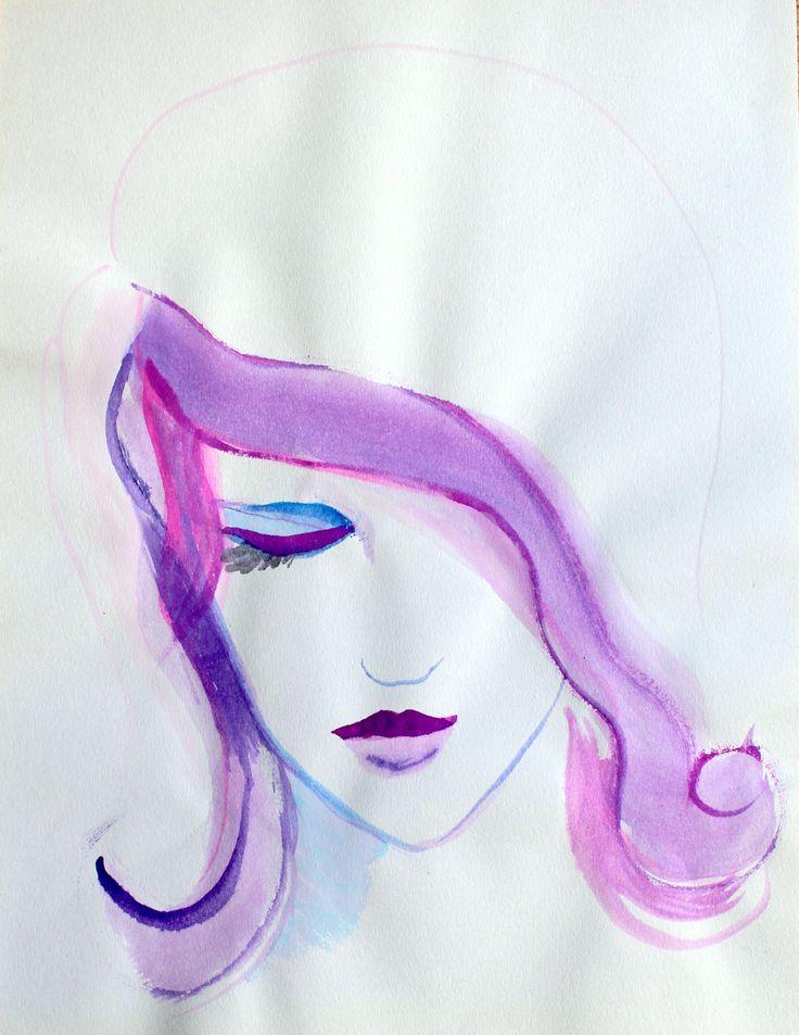 """Purple blue"". Watercolors on paper. March, 2014."