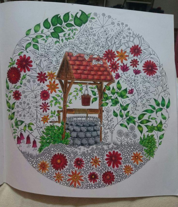 Progress 🖌 Johanna Basford Secret Garden Esrarengiz bahçe boyama kitabı kuyu well flowers prismacolor