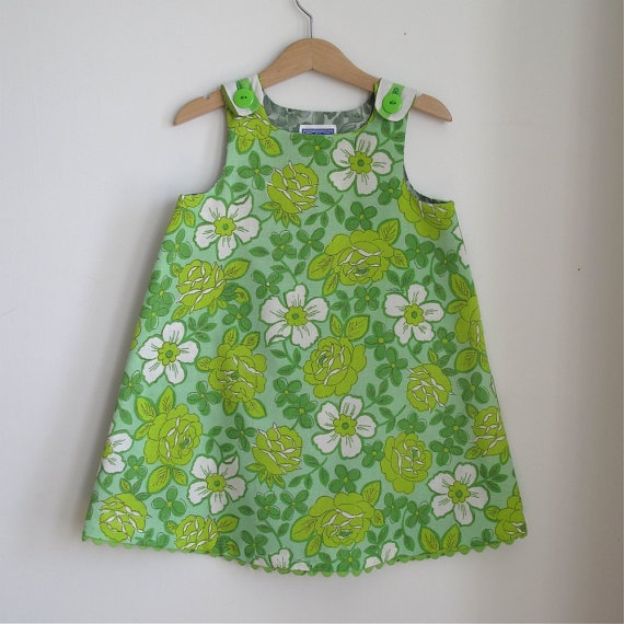 Green posies toddler girl dress  size 4t  children by aprilscott, $36.00