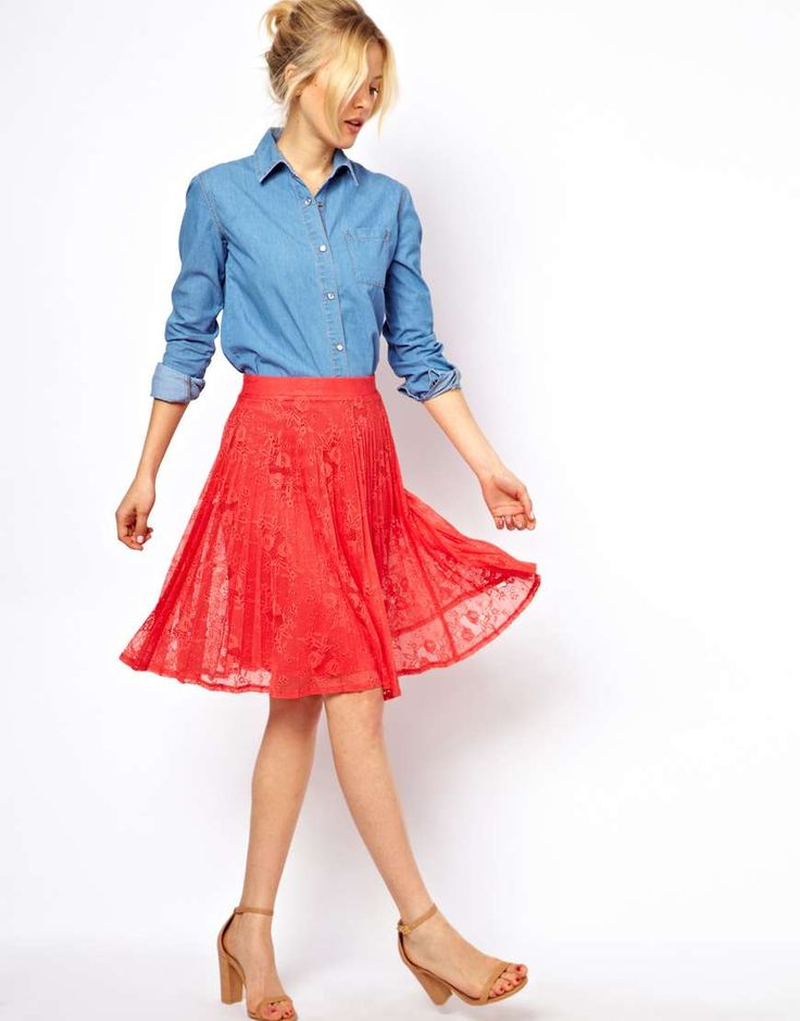ASOS Midi Skirt in Pleated Lace  LOVE this gorgeous skirt