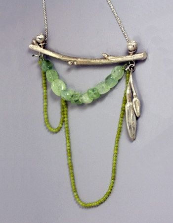 Sarah Hood - Landscape Composition #1 Necklace in sterling silver, prehnite, and jade