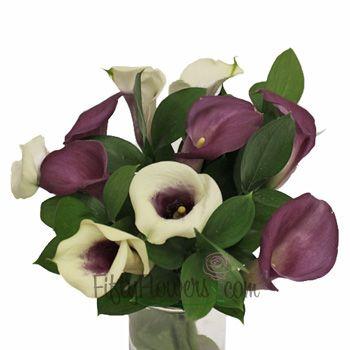 FiftyFlowers.com - Purple and Cream Mini Callas Centerpieces