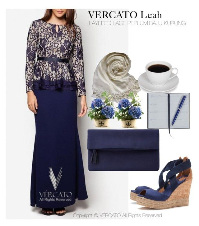 """VERCATO Leah Baju Kurung Moden"" in navy blue and also available in black. SHOP NOW: http://www.vercato.com/baju-kurung-moden-peplum-layered-lace-vercato-leah-navy-blue"