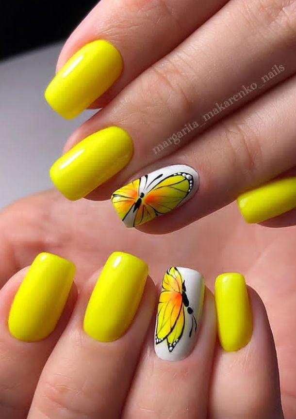 yellow nails,  Natural short square nails design for summer nails, acrylic square nails short, square nails acrylic, classy short nails, natural short nails, summer nails , spring nails, pretty short nails design, #shortNails #Nails #Square #Summer